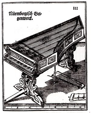 Viola organista - Geigenwerk - Etching from the Syntagma Musicum by Michael Praetorius (1620)