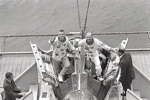 Thomas P. Stafford - Stafford (right) and Eugene Cernan arrive aboard USS Wasp after Gemini 9 on June 6, 1966