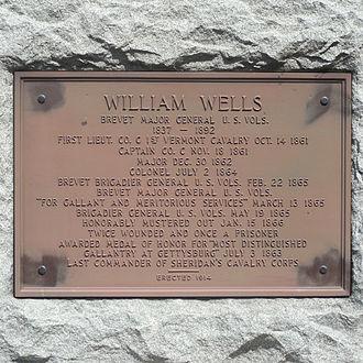 William Wells (general) - Plaque of General Wells's military record (Battery Park, Burlington, VT)