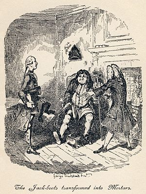"""The Life and Opinions of Tristram Shandy, Gentleman - """"The Jack-boots Transformed into Mortars"""": Trim has found an old pair of jack-boots useful as mortars. Unfortunately, they turn out to have been Walter's great-grandfather's. (Book III, Chapters XXII and XXIII)"""