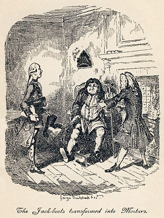 "The Life and Opinions of Tristram Shandy, Gentleman - ""The Jack-boots Transformed into Mortars"": Trim has found an old pair of jack-boots useful as mortars. Unfortunately, they turn out to have been Walter's great-grandfather's. (Book III, Chapters XXII and XXIII)"