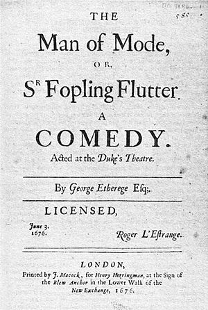 The Man of Mode - Frontispiece to George Etherege's The Man of Mode (1676).