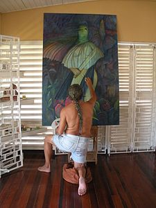 George Simon working on his painting, Bimichi II.JPG