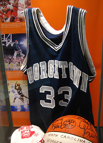 Patrick Ewing - Patrick Ewing's college jersey in the Basketball Hall of Fame museum in Springfield, Massachusetts.