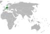 Lage von Deutschland und Libanon