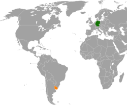 Map indicating locations of Germany and Uruguay