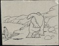 Gertie the dinosaur standing on a cliff edge looking at a mastodon.tif
