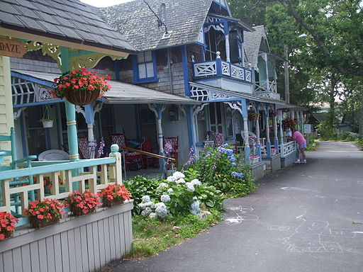 Gingerbread cottages; Oak Bluff, Martha's Vineyard, MA, USA