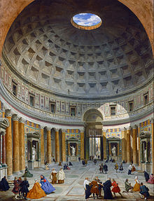 Painting showing a massive room with a high, domed ceiling. A hole is open at the top of the dome. Columns and statues line the walls.