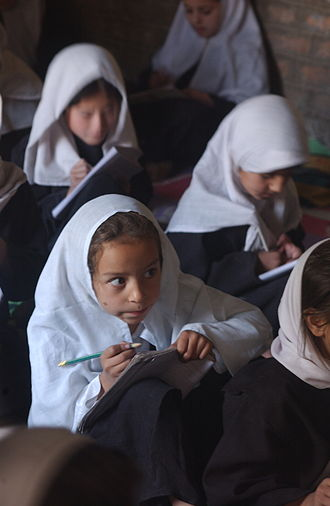 Female education - Girls' class in Afghanistan, 2002