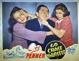 Joe Penner - Lobby card from Go Chase Yourself (1938) with June Travis, Joe Penner, and Lucille Ball