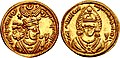 Gold coin of Khosrow II with Anahita on reverse.jpg
