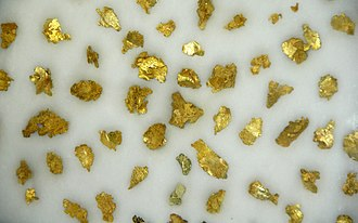 National Mining Hall of Fame - Display of Gold leaf specimens from Idaho Springs, Colorado