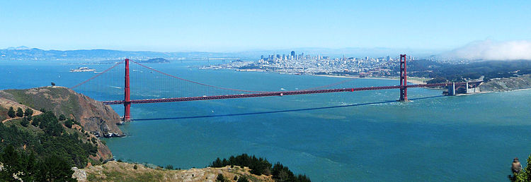 "The Golden Gate Bridge is a suspension bridge spanning the ""Golden Gate"", the strait connecting the San Francisco Bay to the Pacific Ocean. It connects San Francisco with Marin County"