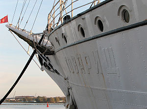 "Gorch Fock (1933) - Showing Stralsund flag, and with name ""товарищ"" painted over"