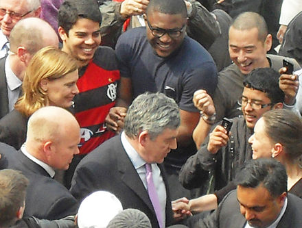 Gordon and Sarah Brown at the University of Bradford the day before the 2010 election. Gordon Brown, University of Bradford.jpg