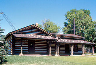 C. M. Russell Museum Complex - The Russell cabin and museum in 1999. Elk antlers can be seen on the roof.