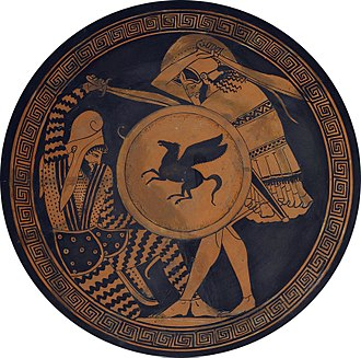 Kopis - Greek hoplite (standing) fighting against a Persian archer. Both are using a kopis. Depiction in ancient kylix, 5th century BC, National Archaeological Museum of Athens.