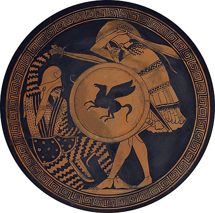 Greek hoplite and Persian warrior depicted fighting on an ancient kylix. 5th century BC Greek-Persian duel.jpg