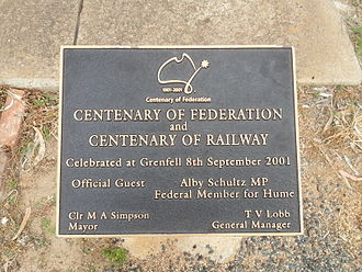 Grenfell railway station - Image: Grenfell NSW, Centenary Plaque