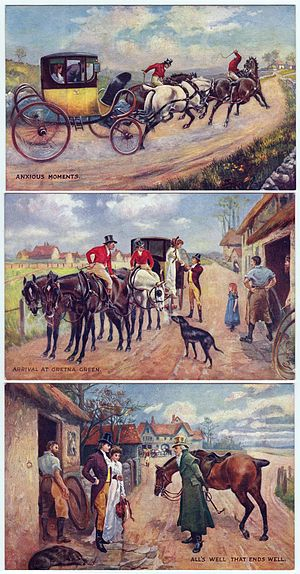 Raphael Tuck & Sons - Scenes from the marriage at Gretna Green, three postcard Oilette by Raphael Tuck, beginning in 1903