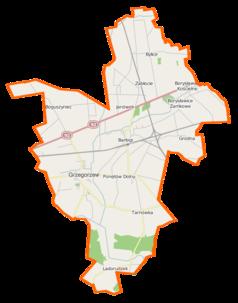 """Mapa konturowa gminy Grzegorzew, blisko centrum na lewo znajduje się punkt z opisem """"Grzegorzew"""""""