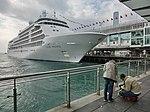 HK TST Harbour City Ocean Terminal pier parking MV Silver Whisper luxury cruise ship n visitors Feb-2013.JPG