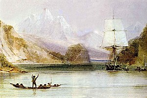 HMS Beagle - Beagle being hailed by native Fuegians during the survey of Tierra del Fuego, painted by Conrad Martens who became ship's artist in 1833