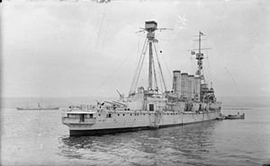 HMS Shannon (1906) - Shannon after her funnels were lengthened.