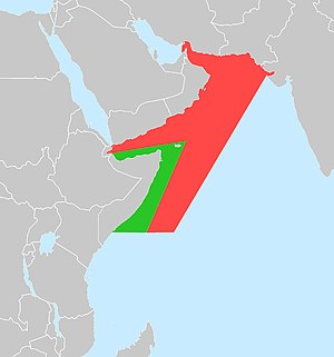 Combined Task Force 150 - The Horn of Africa HOA (Green) and Horn of Africa Extended HOAEX (Red) regions – the main areas of CTF-150