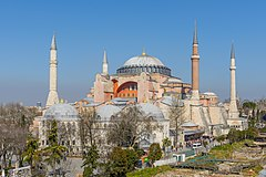 The current Hagia Sophia was commissioned by Emperor Justinian I after the previous one was destroyed in the Nika riots of 532. It was converted into a mosque in 1453 when the Ottoman Empire commenced and became a museum in 1935. Hagia Sophia Mars 2013.jpg