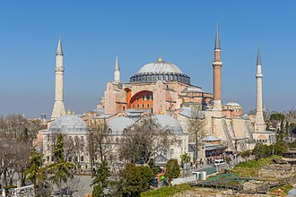 Byzantine architecture - The Hagia Sophia, the most famous example of Byzantine architecture, though with the minarets added later