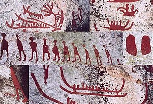 Composite image of petroglyphs from Scandinavia (Häljesta, Västmanland in Sweden). Nordic Bronze Age. The glyphs have been painted to make them more visible.