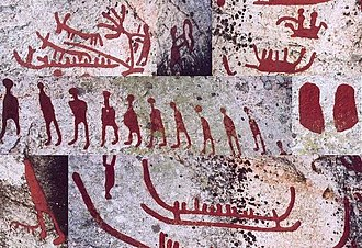 Petroglyph - Composite image of petroglyphs from Scandinavia (Häljesta, Västmanland in Sweden). Nordic Bronze Age. The glyphs have been painted to make them more visible.