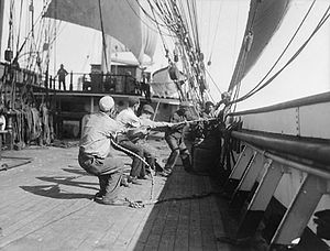 Sea shanty - Sailors hauling a line