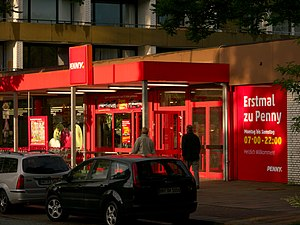 Penny (supermarket) - Penny store with new corporate branding in Hamburg, Germany