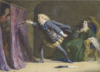 Hamlet - Hamlet mistakenly stabs Polonius (Artist: Coke Smyth, 19th century).