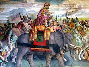 Hannibal's celebrated feat in crossing the Alps with war elephants passed into European legend: a fresco detail, ca. 1510, Capitoline Museums, Rome