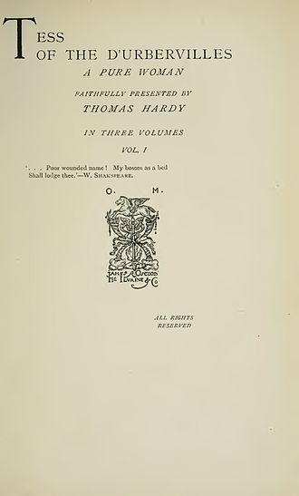 Tess of the d'Urbervilles - Tess of the d'Urbervilles, title page of the 1891 edition