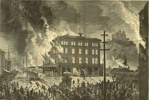 Great Railroad Strike of 1877 - Burning of Union Depot, Pittsburgh, Pennsylvania, 21–22 July 1877, engraving from Harper's Weekly