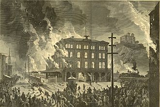 Pittsburgh railroad strike of 1877 - Image: Harpers 8 11 1877 Destruction of the Union Depot