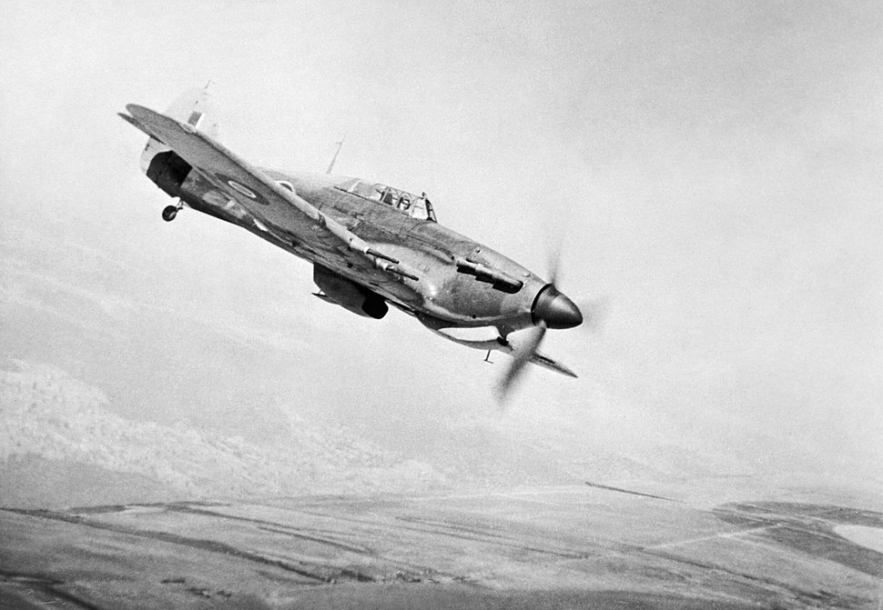 Hawker Hurricane Mk IIC of No. 166 Wing in flight from Chittagong in India, May 1943. CI191
