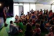 Performer Fleur Alexander leads a session for kids at Hay Days
