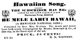 He Mele Lahui Hawaii - An advertisement for the He Mele Lahui Hawaii that appeared in the Pacific Commercial Advertiser in June 8, 1867