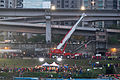 Heavy Crane Truck Rising up for Test at Nanhu Riverside Park South 20150204.jpg