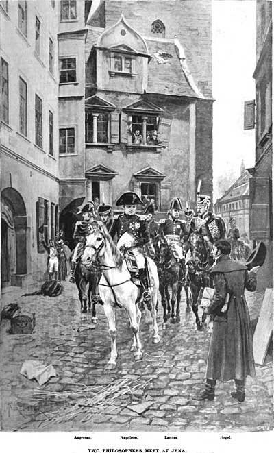 """Hegel and Napoleon in Jena"" (illustration from Harper's Magazine, 1895), whose meeting became proverbial due to Hegel's notable use of Weltseele (""world-soul"") in reference to Napoleon (""the world-soul on horseback"", die Weltseele zu Pferde)[72]"