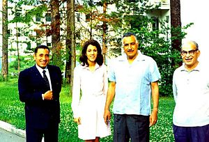Mohamed Hassanein Heikal - Heikal (first from left), Hoda Abdel Nasser and Egyptian president Gamal Abdel Nasser (third from left), 1966