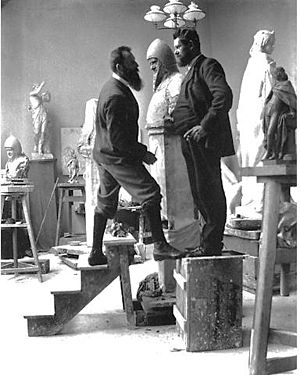 August Kraus - August Kraus (left) employing his friend Heinrich Zille as a model. (c.1900)