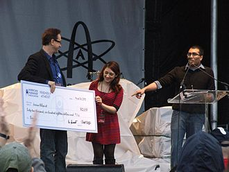 Hemant Mehta - Hemant Mehta presents scholarship check to Jessica Ahlquist at Reason Rally