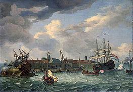 Lukisan pulau Onrust di tahun 1699